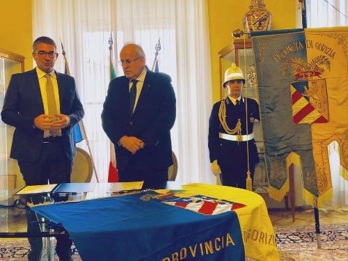 L'assessore regionale alle Autonomie locali Pierpaolo Roberti e il sindaco di Gorizia Rodolfo Ziberna