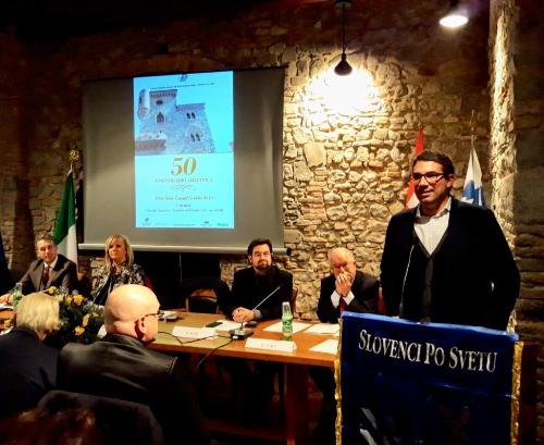 L'assessore Roberti interviene alla cerimonia commemorativa per il cinquantesimo anniversario di Fondazione dell'Unione emigranti sloveni del Friuli Venezia Giulia (Slovenci po svetu) a Cividale.