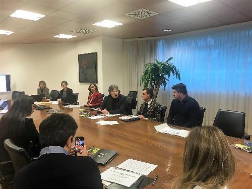 L'assessore regionale al Turismo, Sergio Emidio Bini, durante la presentazione della ricerca dell'Università di Udine sui grandi eventi - Udine, 20 dicembre