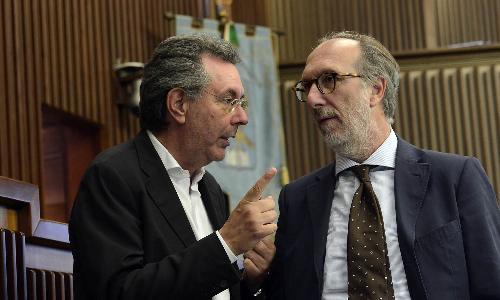 Il vicepresidente con delega alla Protezione civile Riccardo Riccardi e l'assessore alle Infrastrutture e Territorio Graziano Pizzimenti