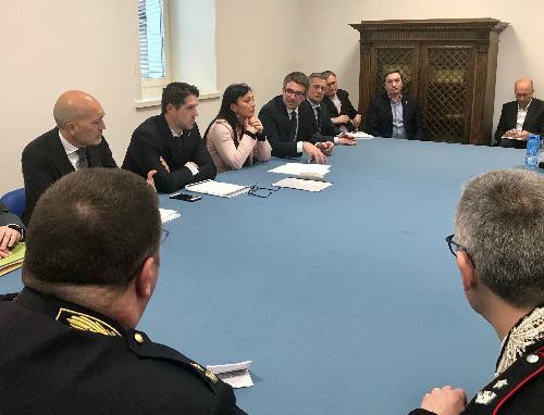 L'assessore Roberti, il sottosegretario Molteni e il sindaco Cisint durante la conferenza stampa.