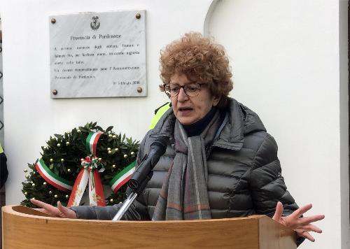 L'intervento del'assessore regionale alla Cultura Tiziana Gibelli in occasione delle celebrazioni del Giorno del Ricordo a Pordenone