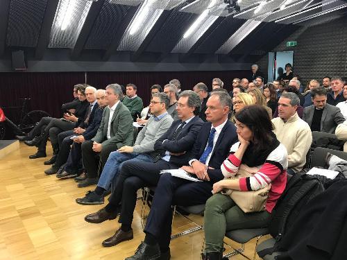 L'assessore regionale a Infrastrutture e territorio, Graziano Pizzimenti, al convegno sul cicloturismo promosso dall'Uti Agro-Aquileiese - Cervignano del Friuli (Udine), 18 febbraio 2019.
