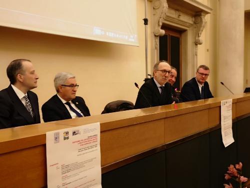 Il vicegovernatore con delega alla Salute del Friuli Venezia Giulia, Riccardo Riccardi, al convegno su 'Riordino del sistema sanitario e politiche sociali in Fvg. Cosa cambia per i cittadini', oggi in municipio a Udine.