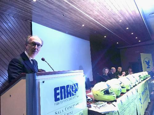 Il vicegovernatore Riccardo Riccardi alla presentazione della MotostaffettaFvg 2019 - Udine, 23 marzo 2019.