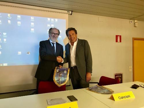 Il vicegovernatore del Fvg Riccardo Riccardi con Ermes Canciani, presidente della Lega nazionale dilettanti Fvg.
