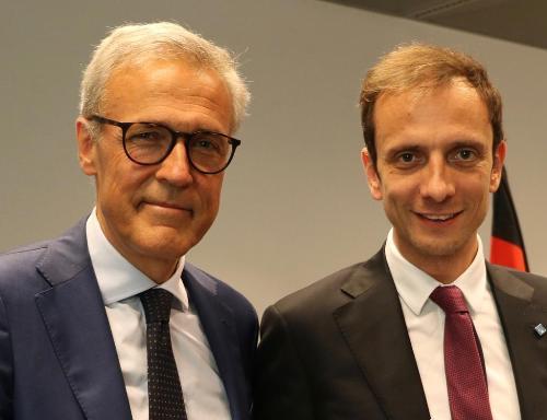 Il governatore Massimiliano Fedriga e l'amministratore delegato della divisione tedesca di Generali, Giovanni Liverani