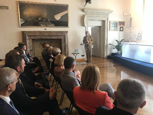 Il vicegovernatore del Friuli Venezia Giulia con delega alla Salute, Riccardo Riccardi, alle premiazioni del progetto sperimentale di educazione alla legalità e promozione della salute Sa.Pre.Mo - Udine, 12 giugno 2019