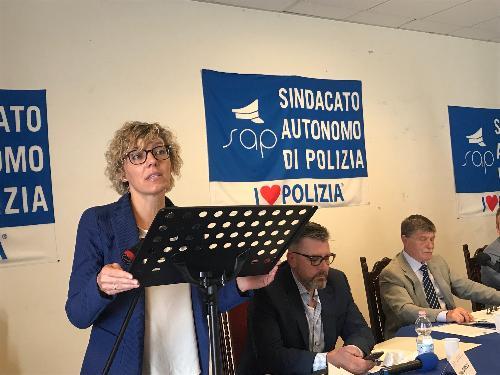 L'assessore alle Finanze e patrimonio del Friuli Venezia Giulia, Barbara Zilli, al congresso regionale del Sindacato autonomo di polizia (Sup) - Godia (Udine), 21 giugno 2019