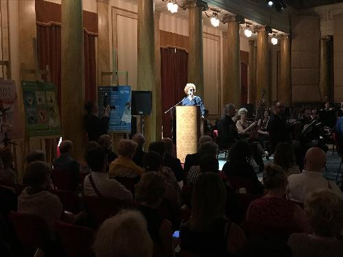 L'assessore regionale a Cultura e sport, Tiziana Gibelli, alla presentazione della stagione 2019-2020 del Teatro Verdi di Trieste.