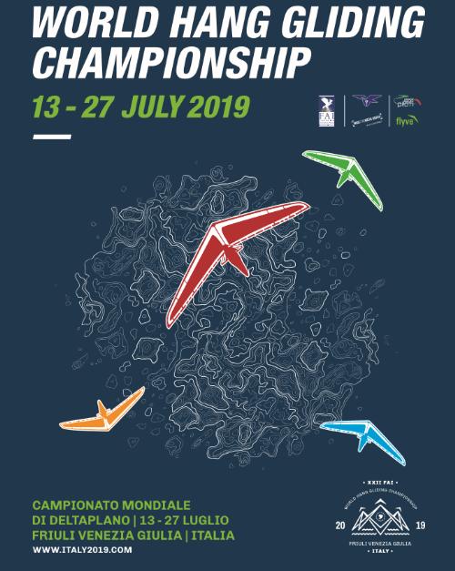 Il manifesto dei Campionati mondiali di deltaplano che si svolgeranno in Friuli Venezia Giulia dal 13 al 27 luglio