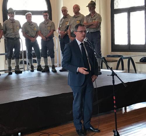 L'intervento dell'assessore alle Risorse agroalimentari e Forestali del Fvg, Stefano Zannier, nella sala consiliare del municipio di Venzone.