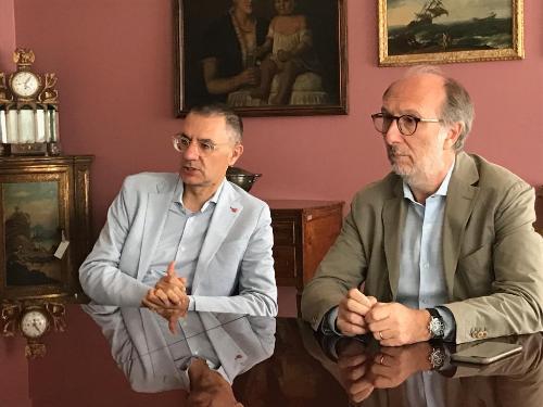 Riccardi con il commissario straordinario dell'Azienda sanitaria universitaria integrata di Udine Giuseppe Tonutti