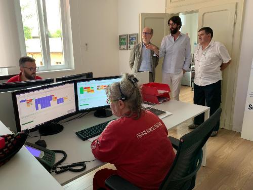 Il vicegovernatore del Fvg, Riccardo Riccardi, in visita alla Centrale operativa della Croce Rossa Italiana comitato di Udine