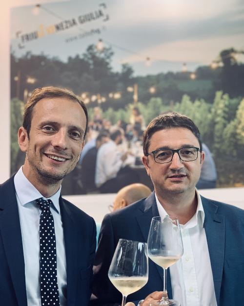 Il governatore Massimiliano Fedriga, al 40° Meeting di Rimini assieme al presidente della Provincia Autonoma di Trento, Maurizio Fugatti.