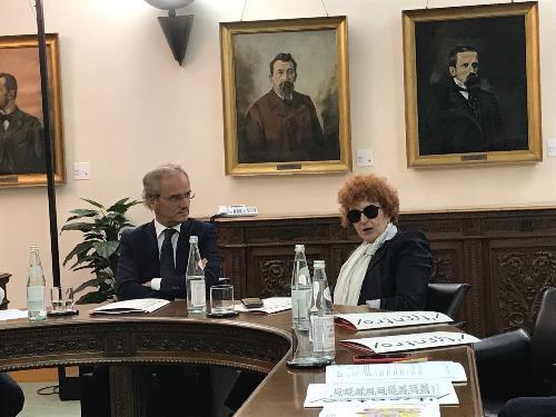 L'assessore regionale alla Cultura, Tiziana Gibelli, alla conferenza stampa di presentazione della nuova stagione 2019-20 del Css Fvg, nella sede della Fondazione Friuli, a Udine.