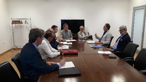 Il vicegovernatore Fvg con delega alla Salute, Riccardo Riccardi e l'assessore regionale a Infrastrutture e Territorio Graziano Pizzimenti nel corso dell'incontro a Udine