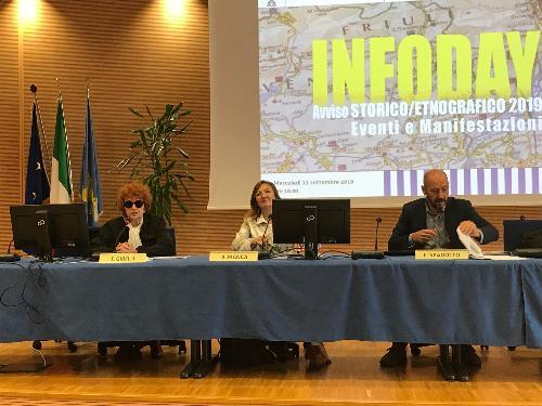 L'assessore alla Cultura del Friuli Venezia Giulia, Tiziana Gibelli, all'incontro di presentazione del nuovo bando dedicato alla valorizzazione della cultura storica ed etnografica del territorio.