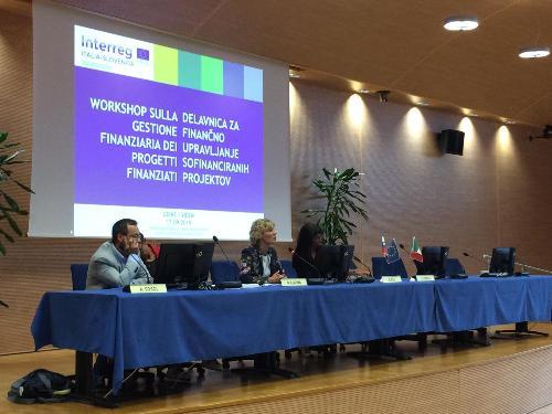 L'assessore regionale alle Finanze, Barbara Zilli, al Workshop sulla gestione finanziaria dei progetti finanziati nell'ambito del programma Interreg Italia-Slovenia 2014-2020.