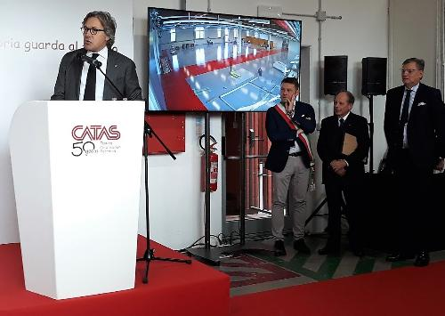 L'assessore Bini interviene all'inaugurazione del nuovo laboratorio del Catas di San Giovanni al Natisone