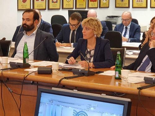 L'assessore alle Finanze del Friuli Venezia Giulia, Barbara Zilli, durante la riunione della Conferenza Stato-Regioni, svoltasi nel primo pomeriggio a Roma dopo che in mattinata si è tenuta la Conferenza della Regioni e Province autonome.