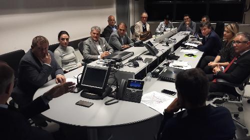 Il vicegovernatore Riccardo Riccardi all'incontro nella sede operativa della Protezione civile di Palmanova per l'illustrazione del protocollo di opere per la prevenzione del rischio idrogeologico a Latisana