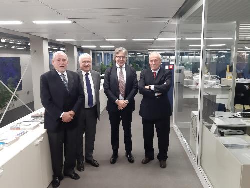 L'assessore Bini con Giovanni Fantoni, Tullio Bratta e Renzo Marinig