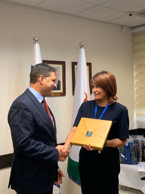 L'assessore regionale alla Formazione Alessia Rosolen con il sindaco della città di Modi'in-Maccabim-Re'ut Haim Bibas