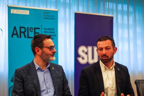 Il president de Cooperative di Informazion Furlane, Carlo Puppo e il presidente de Arlef Eros Cisilino.