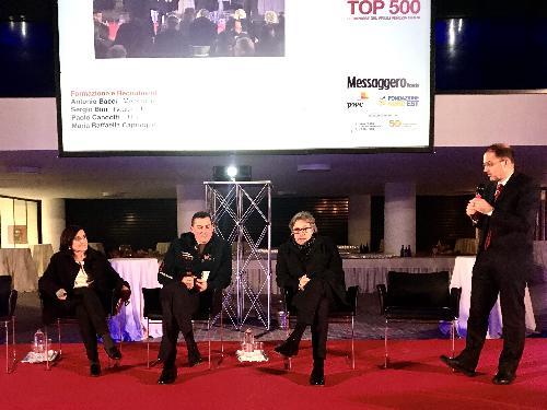 L'assessore regionale alle Attività produttive Sergio Emidio Bini all'Interporto Pordenone interviene alla prima delle serate dedicata all'illustrazione dei dati sulle 500 top aziende del Friuli Venezia Giulia.