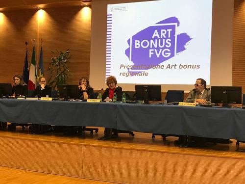 L'illustrazione nella sede della Regione Fvg a Udine con l'assessore regionale alla Cultura Tiziana Gibelli, dell'Art bonus Fvg.