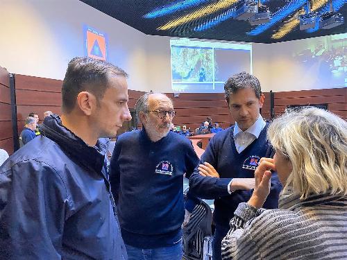 Fedriga, Riccardi e Aristei, direttore PC a Palmanova durante il Comitato di crisi