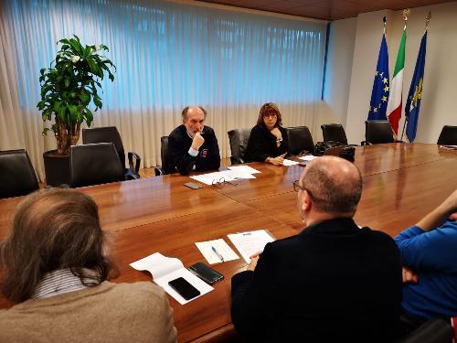 Il vicegovernatore Riccardo Riccardi all'incontro con i portavoce dell'Alleanza contro la povertà in Friuli Venezia Giulia