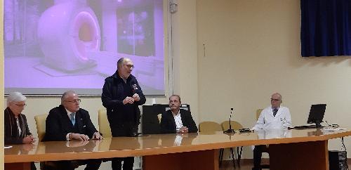 Il vicegovernatore del Friuli Venezia Giulia con delega alla Salute, Riccardo Riccardi, all'inaugurazione della nuova apparecchiatura di risonanza magnetica, con l'assessore comunale al welfare, Silvana Romano, il sindaco di Gorizia, Rodolfo Ziberna, il direttore dell'Aas2, Antonio Poggiana, il direttore della struttura complessa di radiologia, Piero Pellegrini - Gorizia, 18 novembre 2019.
