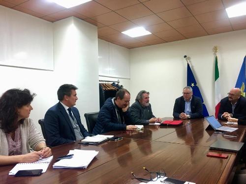 L'assessore al Patrimonio del Friuli Venezia Giulia, Sebastiano Callari, incontra la rappresentanza di Assonautica guidata dal presidente Mario Ordiner assieme al consigliere regionale Mauro Bordin - Udine, 19 novembre 2019.