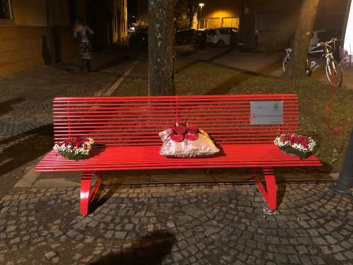 La panchina rossa posta accanto al Municipio per ricordare tutte le donne vittime di violenza - Pagnacco, 25 novembre 2019