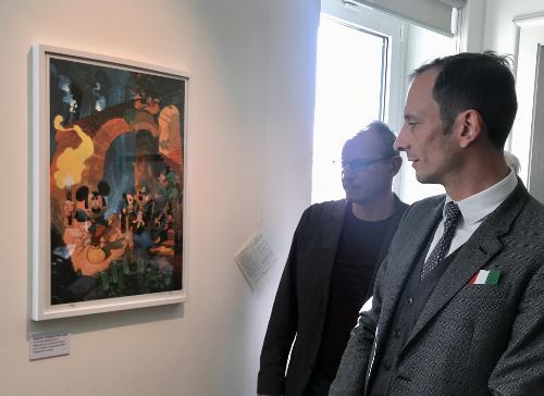 Il Governatore Massimiliano Fedriga in visita alla mostra ospitata al Paff di Pordenone