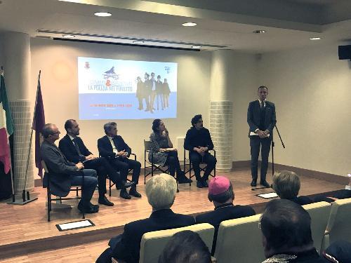 """L'intervento del governatore Massimiliano Fedriga durante la cerimonia di presentazione della mostra """"Matite&manette"""""""