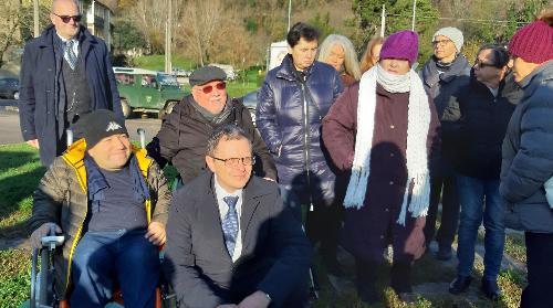 L'assessore alle Risorse forestali del Friuli Venezia Giulia, Stefano Zannier, assieme al vice presidente della Uildm Gorizia (Unione italiana lotta alla distrofia muscolare), Massimiliano Mauri - Gorizia, 3 dicembre 2019.