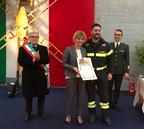 L'assessore alle Finanze del Fvg, Barbara Zilli, a Udine nella sede del comando provinciale dei Vigili del fuoco per la ricorrenza del santo patrono dei VVFF.