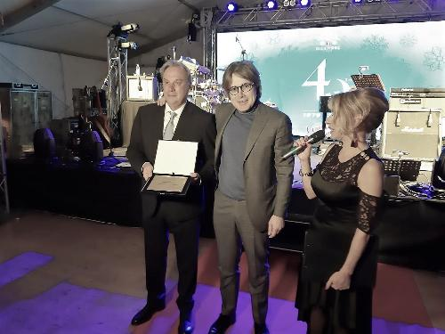 L'assessore alle Attività produttive del Friuli Venezia Giulia, Sergio Emidio Bini, durante i festeggiamenti per il quarantennale dell'azienda Juliagraf a Premariacco.