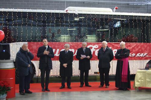 Il governatore Massimiliano Fedriga alla festa natalizia dedicata ai dipendenti della Saf di Udine