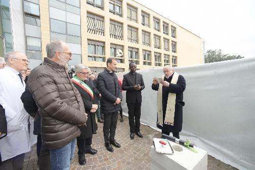 Il governatore Massimiliano Fedriga e il vicegovernatore con delega alla Salute Riccardo Riccardi alla posa della prima pietra del III e IV lotto del nuovo ospedale di Udine