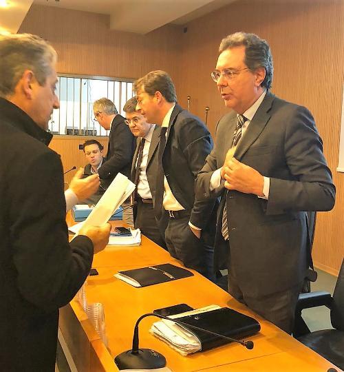L'assessore Pizzimenti con il presidente di FVG Strade Raffaele Fantelli e il direttore dal direttore Sandro Didonè a Tolmezzo