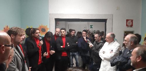 Il vicegovernatore con delega alla Salute, Riccardo Riccardi all'ospedale Maggiore di Trieste per l'inaugurazione della Sala Unione nel reparto di Geriatria frutto del contributo dei tifosi della Curva Furlan della Triestina Calcio e di un tirocinio offerto ai giovani praticanti della Edilmaster.