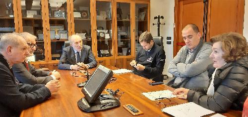Il vicegovernatore con delega alla Protezione civile, Riccardo Riccardi, incontra i sindaci di Cavasso Nuovo, Silvano Romanin, e di Meduno, Marina Crovatto - Palmanova (Ud), 27 dicembre 2019.