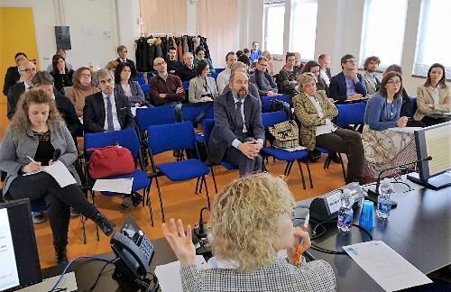 """La platea internazionale di """"Exchange of Experience in FVG - progetto Interreg Europe Innova FI"""" a Friuli Innovazione"""