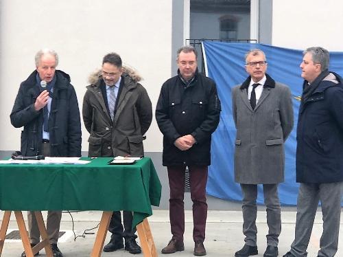 L'assessore alle Infrastrutture e territorio del Friuli Venezia Giulia, Graziano Pizzimenti, alla consegna di sei alloggi di edilizia residenziale pubblica - Cervignano del Friuli, 15 gennaio 2020.