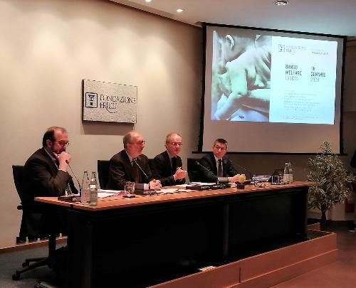 Il vicegovernatore con delega alla Salute e Politiche sociali Riccardo Riccardi alla presentazione del Bando welfare 2020 della Fondazione Friuli a Udine.