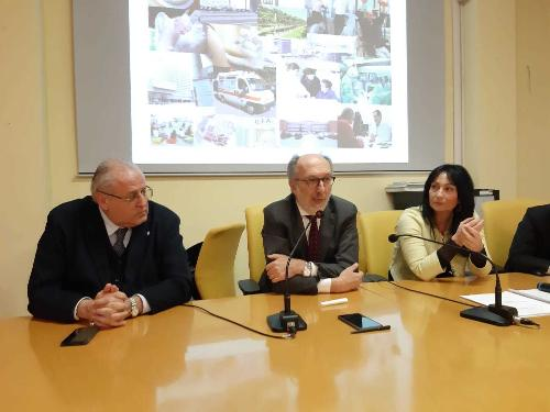 Il vicegovernatore Riccardo Riccardi assieme ai sindaci Rodolfo Ziberna (Gorizia) e Anna Maria Cisint (Monfalcone)